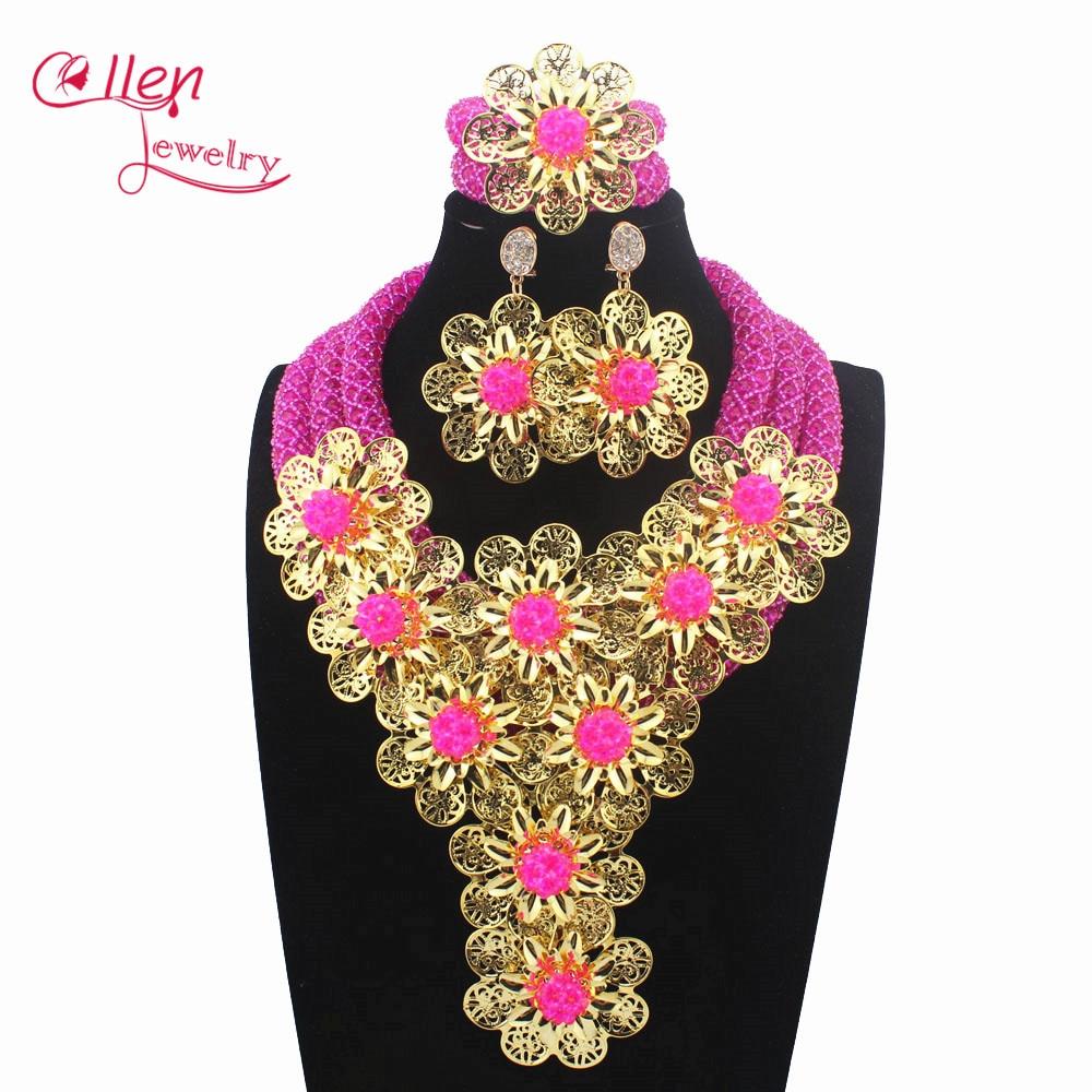 2019 Luxury African beads jewelry sets india nigerian flower beads beaded wedding bridal necklace dubai jewelry sets W13740