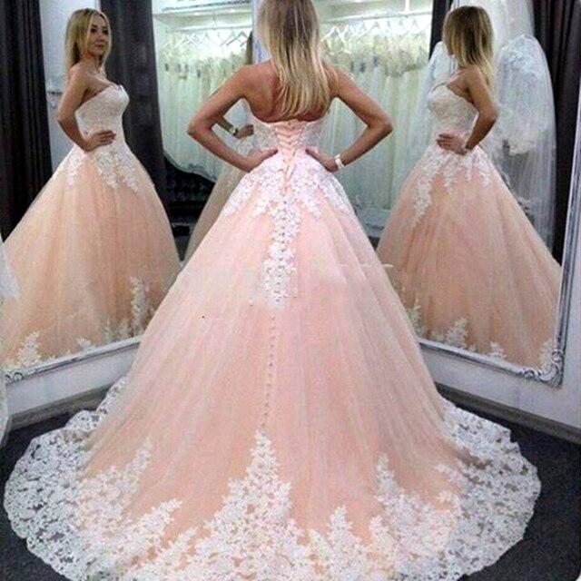 Pink Puffy vestido de Bola Largo Quinceañera Vestidos Vestidos de 15 ...