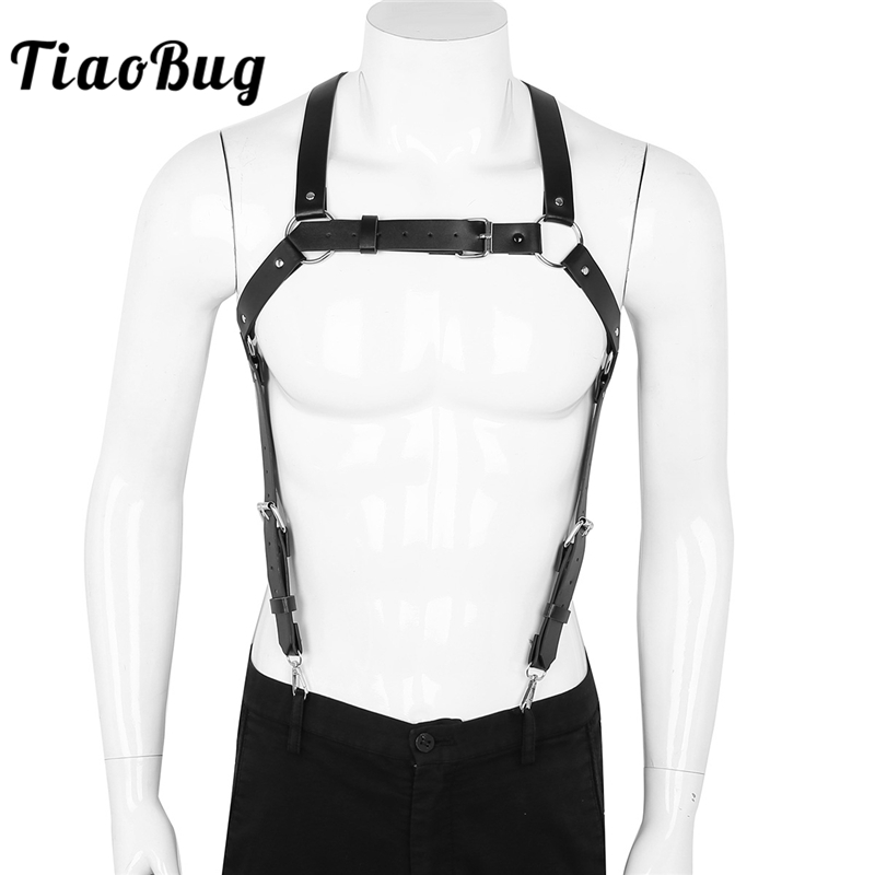 TiaoBug Punk Gothic Men PU Leather X Back Body Chest Harness Suspender Bondage Belt Top Hot Sexy Male Club Festival Rave Costume