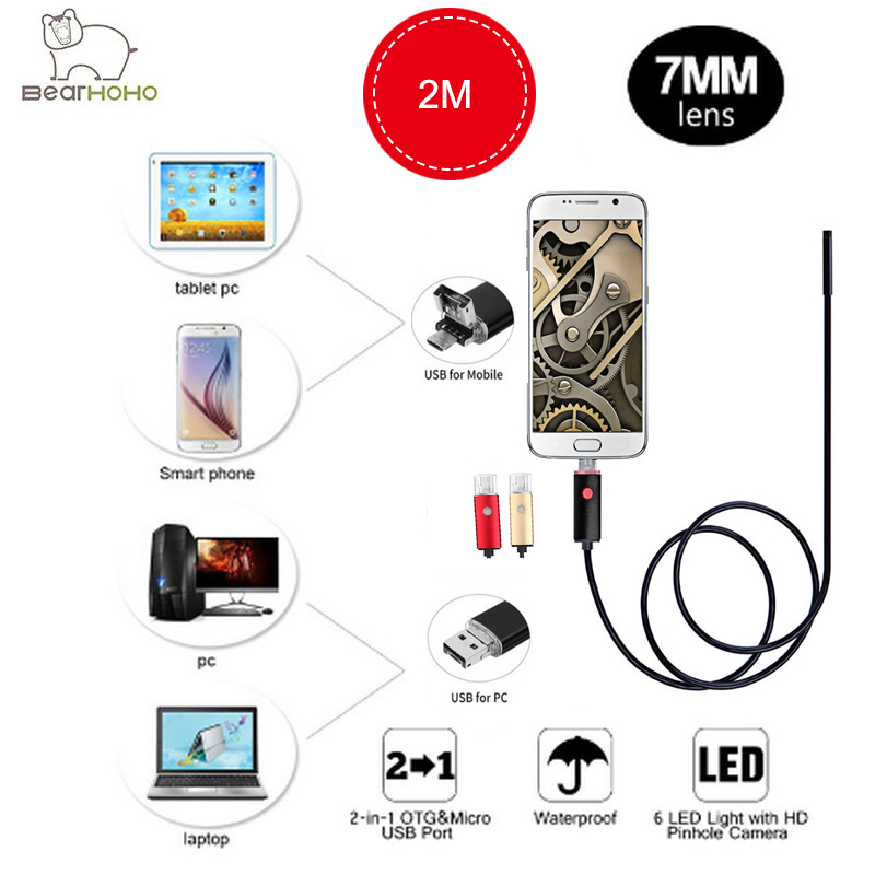 Video USB Endoscope Android 2IN1 HD 720P 2M Cable 7mm Lens 2.0MP Inspection Borescope Car Endoscope Flexible Camera Waterproof