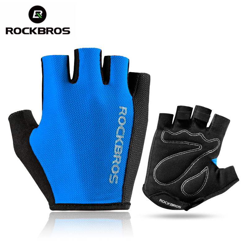 ROCKBROS Cycling Bike Bicycle Gloves Outdoor Sports Breathable Bike Gloves Half Short Finger Sponge Pad Gloves Unisex 5 Colors