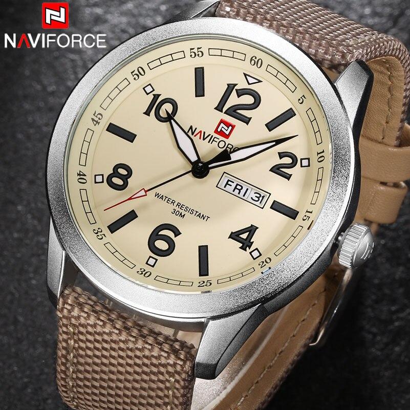 Men Quartz Watch NAVIFORCE Brand Fashion Sport Calender Watches Nylon Strap Wristwatch 2017 Gift Watch With Box 30M Waterproof men fashion quartz watch 45mm