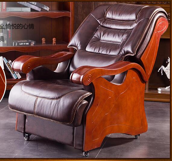 Boss Chair Leather Reclining Chair Chair Office Chair Solid Wood Chair Four-foot Computer Chair.