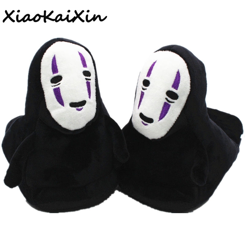 Unisex Anime Cartoon Plush Slippers Spirited Away No Face man Cosplay Style Indoor Home Shoes Black specter spoof slippers women