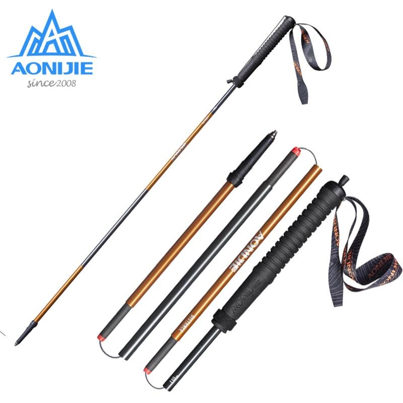 2 unids/par AONIJIE bastón de correr plegable ultraligero de bloqueo rápido Trekking poste de senderismo carrera fibra de carbono E4102 M-polo