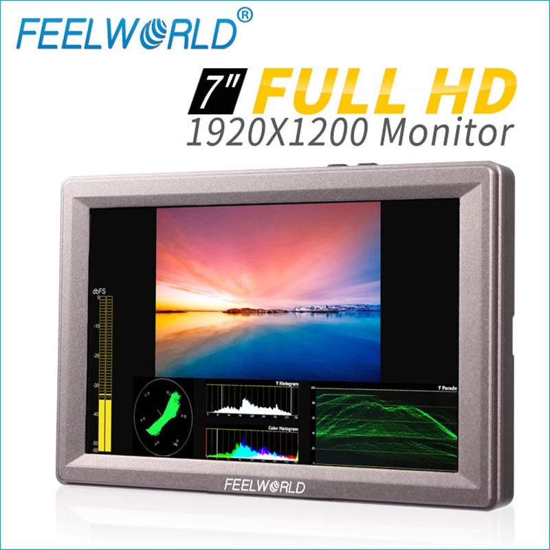 Feelworld 7 Inch Aluminum Design IPS 1920x1200 Full HD HDMI 3G-SDI On-camera Monitor with Waveform Vector Scope Histogram G70