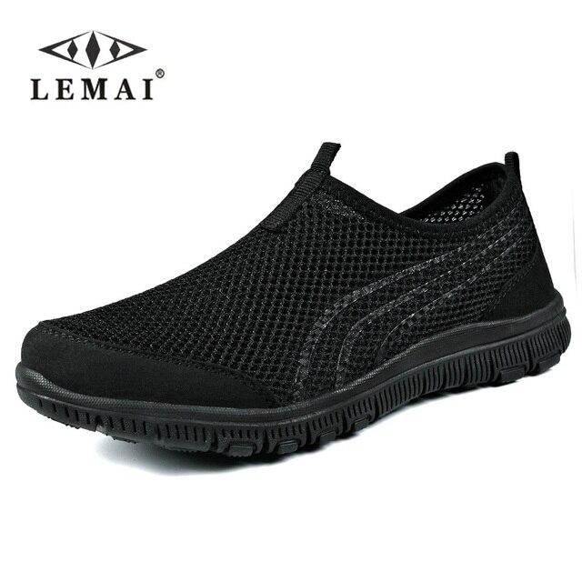 Lemai 2018 мужские кроссовки 9908, унисекс Обувь Лето Повседневное мужские туфли дышащие сети Обувь человек слипоны Туфли без каблуков для мужчин 35-46
