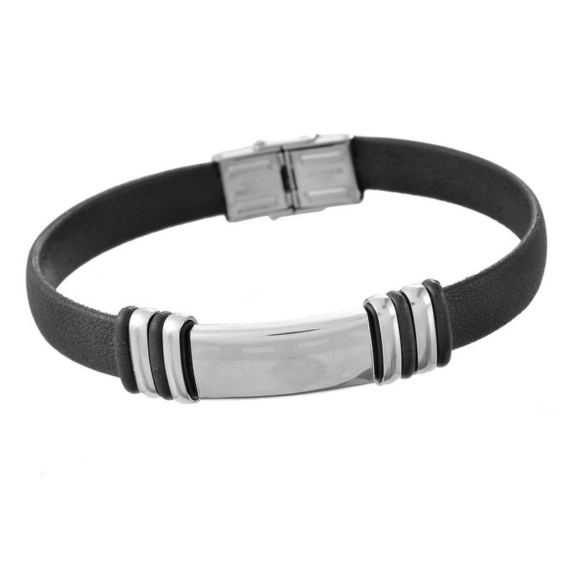 LASPERAL Stainless Steel Charm Bracelet Men Punk Black PU Leather Adjustable Bracelets & Bangles For Women Smooth Jewelry 23.5cm