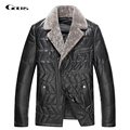 Gours Winter Men's Genuine Leather Down Jacket Brand Clothing Sheepskin Down Jacket and Coat Parka with Fur Collar 2016 New