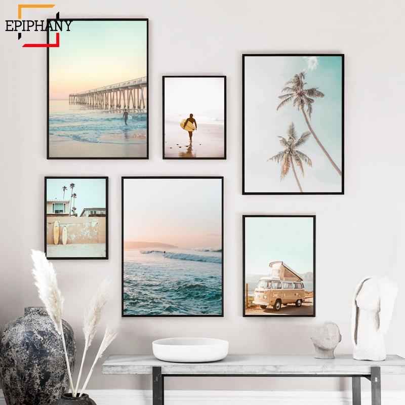 California Surf Art Prints Beach Wall Art Summer Print Sunset Landscape Canvas Painting Surfboard Boho Decor Coastal Posters