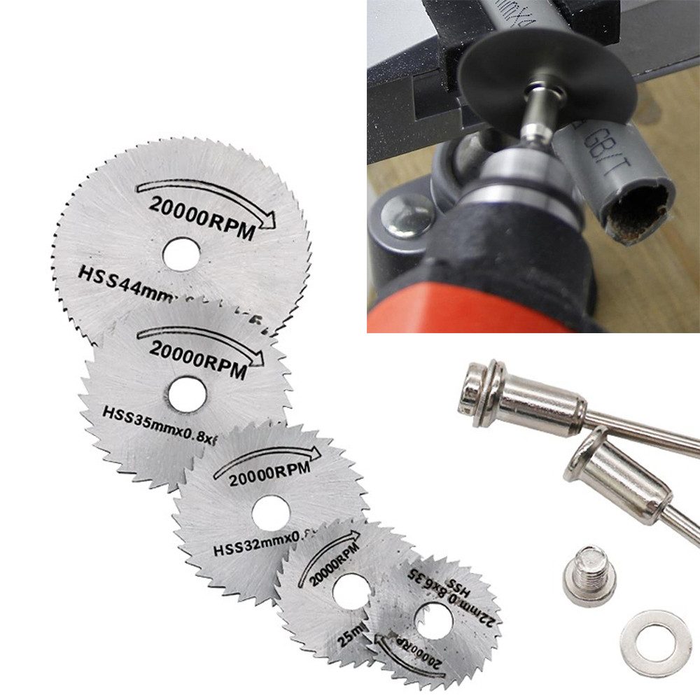 2019 hot new products 5x HSS Circular Wood Cutting Saw Blade Discs + 2x Mandrel Drill For Rotary Tool Family Low price Shipping