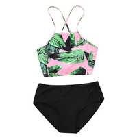 Top Band 2018 Printed Bikini Swimsuit Women Swimwear High Neck Bikini Set Beachwear Bathing Suit Push Up Padded Bodysuits