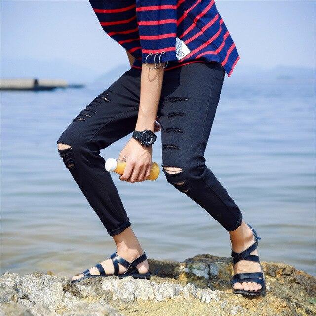 NEW 2018 spring autumn Mens jeans summer thin elastic jean hip hop knee hole streetwear pants black character male feet pants