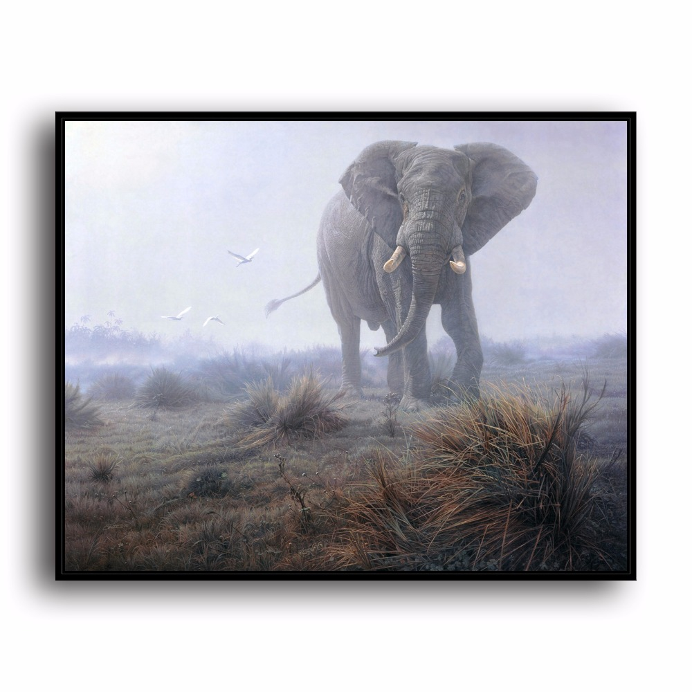 ᑎ‰A0414 Elefanti Pascolo Paesaggio Naturale Animale. HD Stampa Su ...