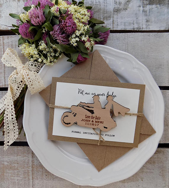 Personalized Motorcycle Rustic Wedding Invitation Cards With Wood