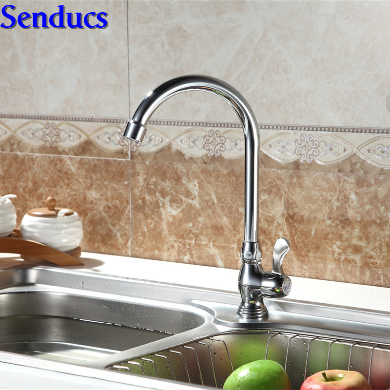 Free shipping Senducs single handle kitchen mixer tap with single cold kitchen tap of zinc alloy