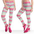 New Arrival Fashion Leggings Women Funny Aztec green and Pink Color Leggings pant