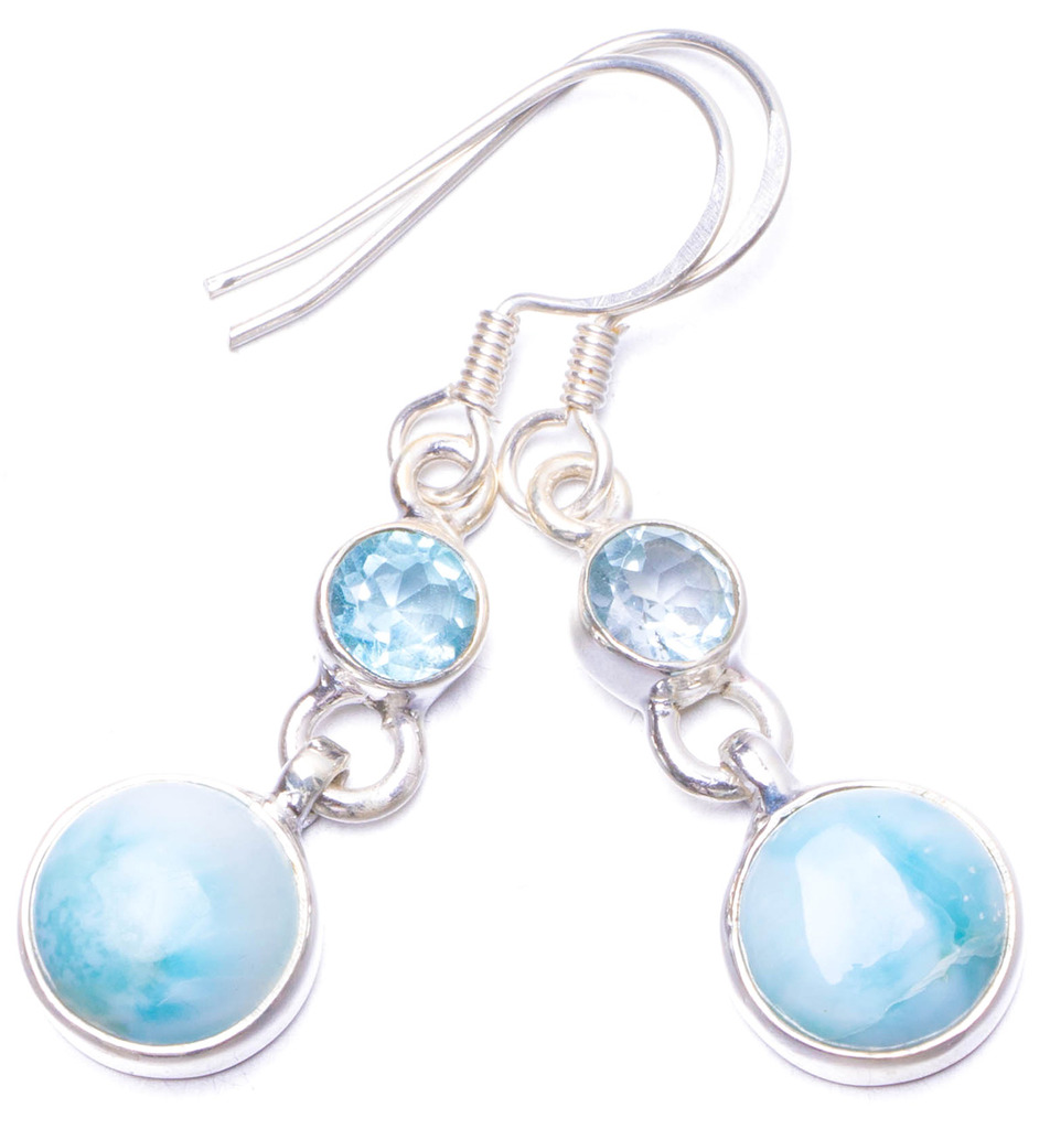 Natural Caribbean Larimar and Blue Topaz Handmade Unique 925 Sterling Silver Earrings 1.5 Y1185