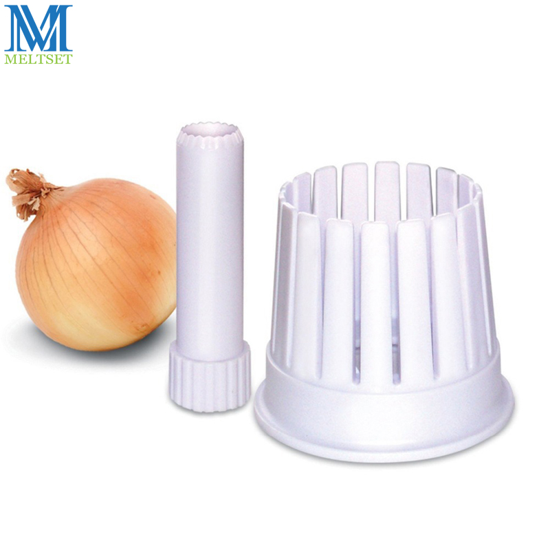Simple Kitchen Accessories Set Plastic Onion Cutter Slicer 1PC Onion Cutting Holder + 1PC Corer