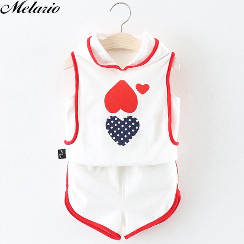 Melario Baby clothing Sets 2018 Summer Girls Clothing Sets Pattern Sports Shorts Hooded Suit Sleeveless T-shirt+Shorts 2 pieces