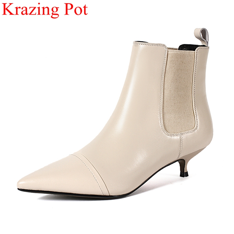 купить 2018 new arrival big size elastic band med heel pointed toe women ankle boots fashion boots runway keep warm winter shoes L52 недорого