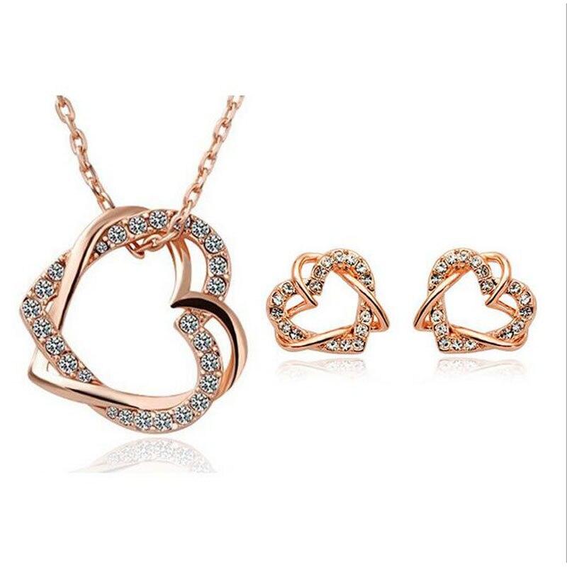 e05f28feb7e0 Moda fiesta traje joyería establece rosa de oro de Color claro cristal  pavimentado aretes corazón doble collar de cadena para las mujeres en  Sistemas de la ...
