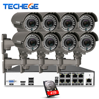 8CH 5MP 48V Real PoE NVR W 8pcs 2 8 12mm Zoom Lens 4 0MP IP