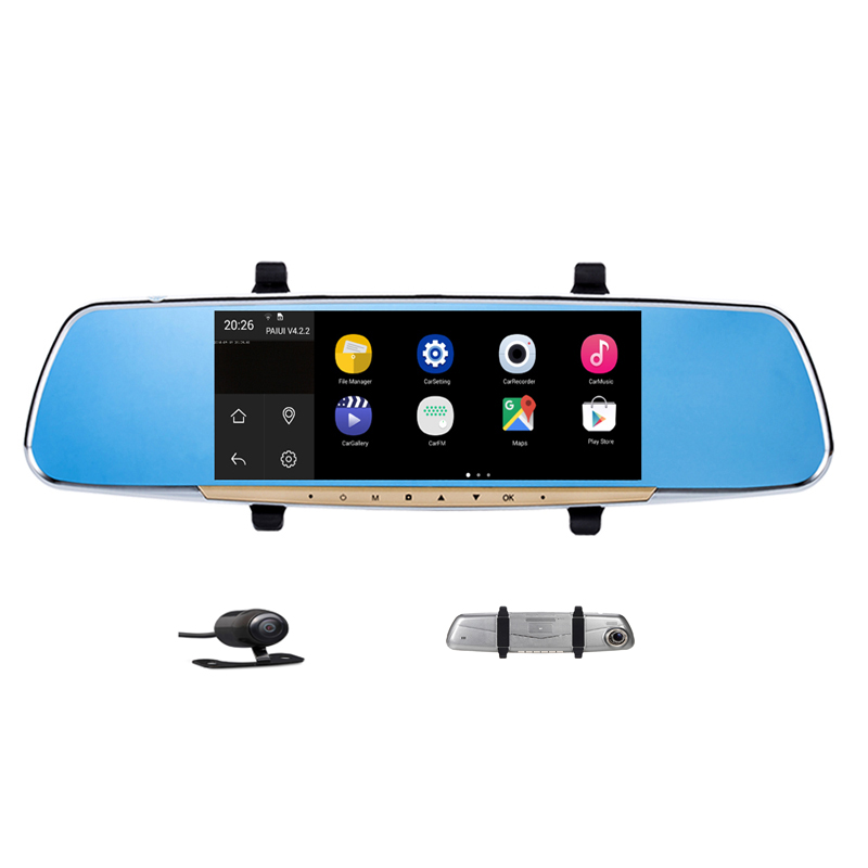 7 Inch Capacitive Screen Android4 4 Car Rearview Monitor DVR Build in Wifi GPS Navigation Car