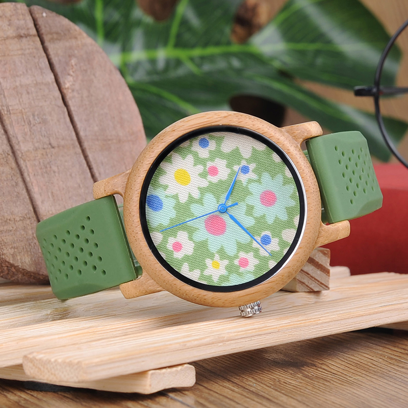 Custom BOBO BIRD L-B04 Soft Green Silicone Band Bamboo Wood Watches For Women Flowers Cloth Dial Casual Japan 2035 Quartz Watch