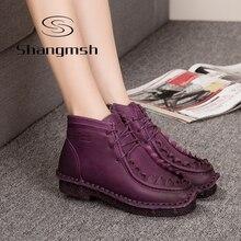 Shangmsh Handmade Sapatos Martin Botas De Couro Estilo Popular Chinesa Retro Botas Flat macios Plus Size 11 Do Sexo Feminino de Veludo Morno Mulheres sapato
