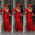 Caliente de La Manera Más El Tamaño de Oro Africano Ankara kitenge Rojo Largo Vestidos de Noche de La Sirena con Espalda Abierta Peplum Mujeres Vestidos Formales Largos