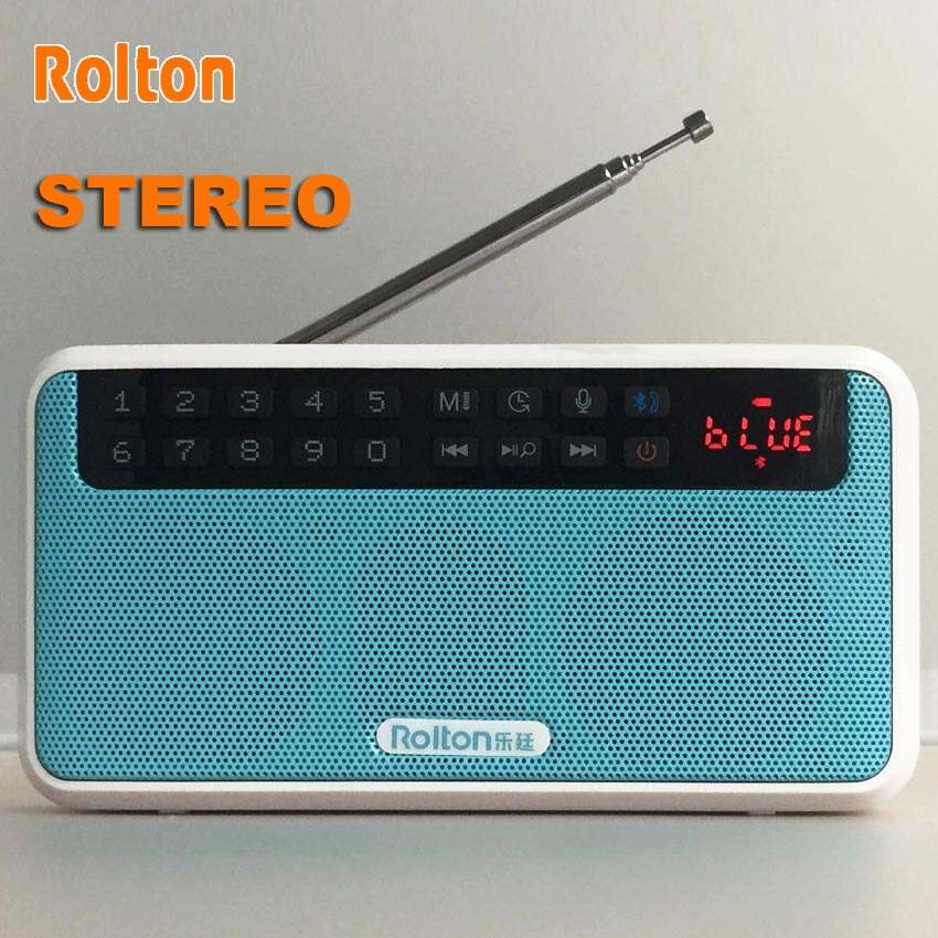 Rolton E500 HiFi Stereo Bluetooth Speaker Portable Super Bass Sound Box Column MP3 Music Player For Computer With Radio TF Card
