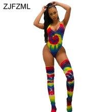 Rainbow Tie Dye Sexy Beach Bodysuits Women Deep V Neck Sleeveless One Piece Overall  Summer High Waist Party Playsuit With Sock black sexy v neck drawstring waist playsuit with zipper
