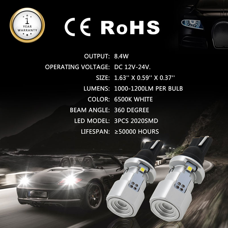 Image 2 - OXILAM 1000lm T15 W16W LED Canbus 921 912 Wedge Reverse Light Bulb High Power Super Bright Car Exterior Lamp 6500K White-in Signal Lamp from Automobiles & Motorcycles