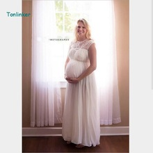 Tonlinker 2018 new Maternity Clothing Photography Props Woman Maxi Dress  elegant beading Clothes for Pregnant Women Pregnancy