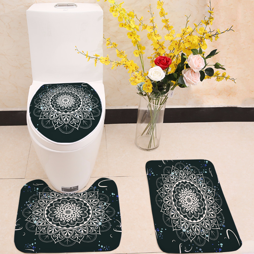 Flanelle trois pièces salle de bain toilette coloré Mandala impression tapis anti-dérapant tapis absorbant floormat personnaliser U forme paillasson