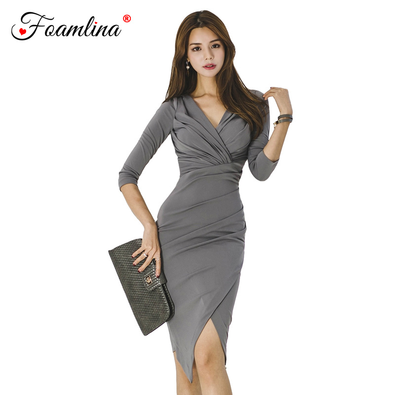 958445d6420dc Foamlina Elegant Ladies V Neck Sexy Dress Work Wear Office Bodycon Dress  3/4 Sleeve Draped Knee Length Sheath Women Autumn Dress