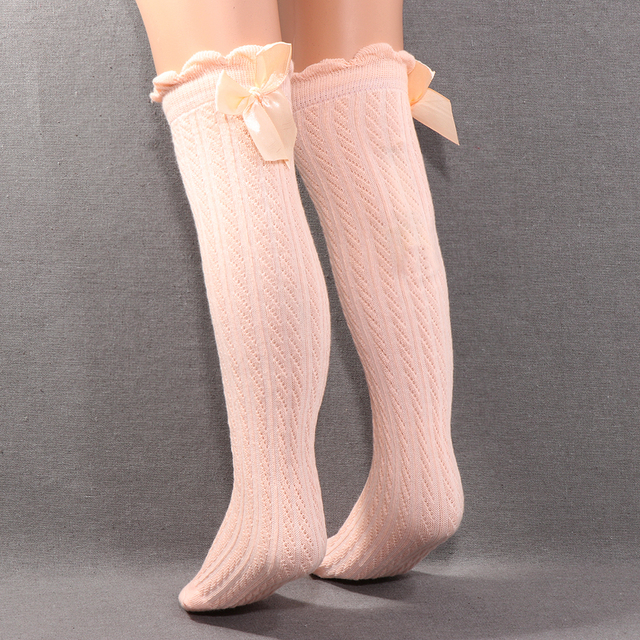5af7ce0ad Children Girls Knee High Socks Cute Kids Lace Bows Princess leg Warmers  Solid Cotton Girl Long Tube White Socks 0-2 years