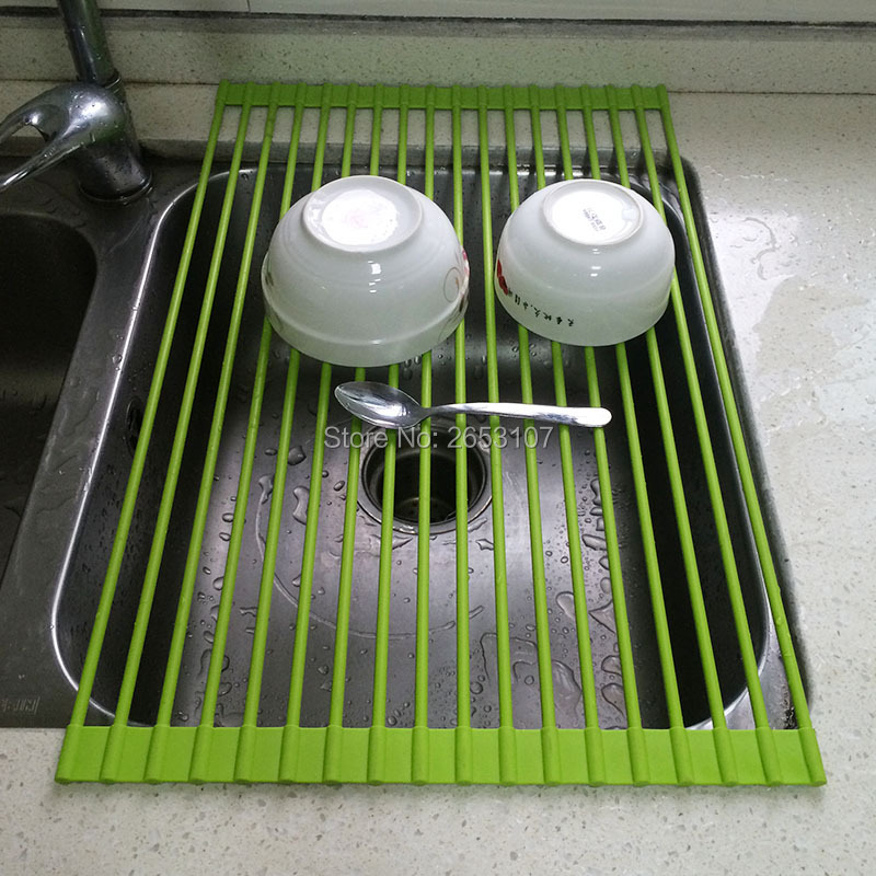 New DISH DRAINER Rack Over Sink Roll Up Mat Kitchen Tray Heat Drying  Strainer In Storage Holders U0026 Racks From Home U0026 Garden On Aliexpress.com |  Alibaba ...