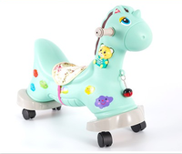 Baby Rocking Horse with Music Plastic Roller Baby Birthday Gift Rocking Horse Ride on Animals Children Toy Ride Kids Horse Toys