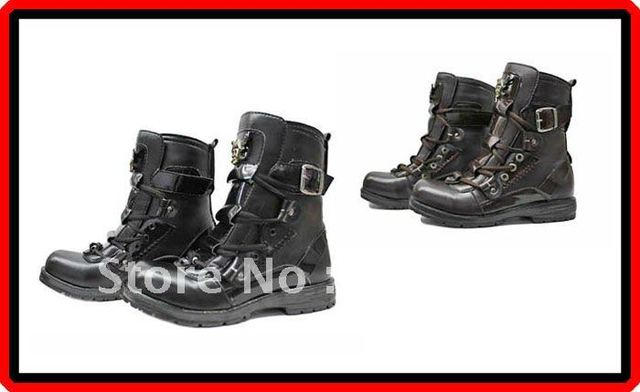 Free Shipping Fashion Rock Punk Gothic Style Boots Biker Boots 2 Colours Available Black / Brown Size 38-43 (FWMB035) !!