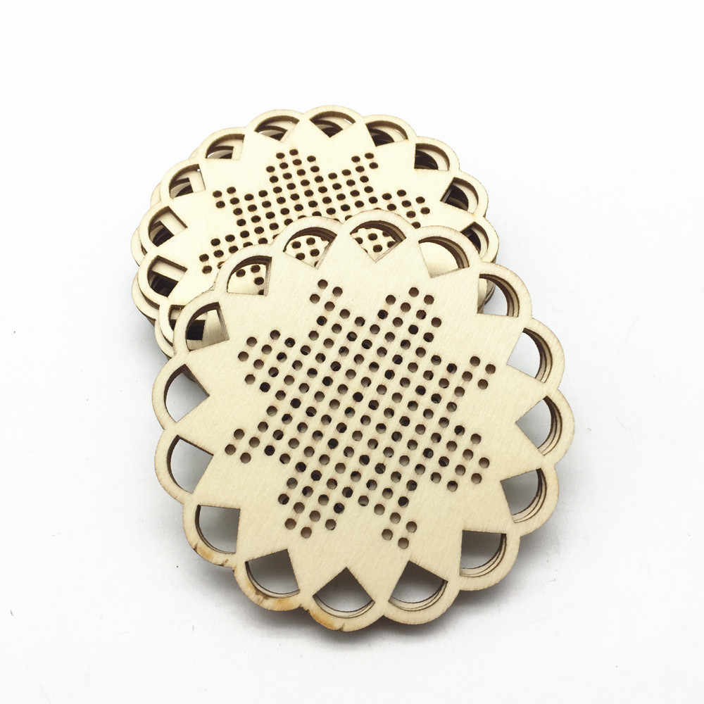 5 pcs ดอกไม้/รูปไข่/รอบ/สแควร์ไม้เย็บปักถักร้อยข้าม Stitch จี้โปรดปรานคริสต์มาส Tags Keychains DIY Xmas cutout งานฝีมือ