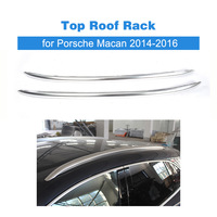 2pcs Top Roof Rack Rail Mount Aluminum Fit for Porsche Macan 2014 2015 2016 Car Overhead Luggage Rack Roof Carriers