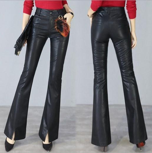Dames taille haute Skinny Pu cuir Flare pantalon femmes automne mode formelle Faux cuir évasé pantalon bureau travail pantalon femmes