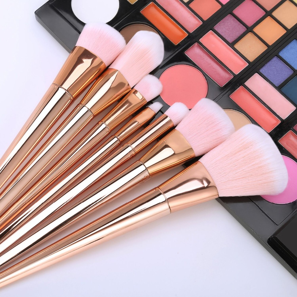 2017 New 7pcs Makeup Brushes Set Powder Foundation Eyeshadow Lip Brushes Professional Rose Gold Make Up