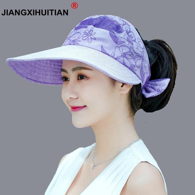 9e09796e387 Fashion uv sun hat summer cotton sun hats for women straw hat girls beach  organza cap