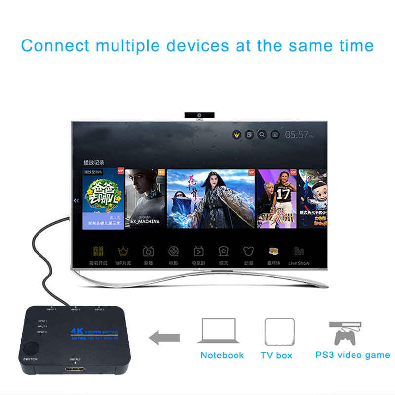 HDMI Switch 4K Switcher 3x1 Splitter Box Ultra HD For DVD HDTV Xbox PS3 PS4