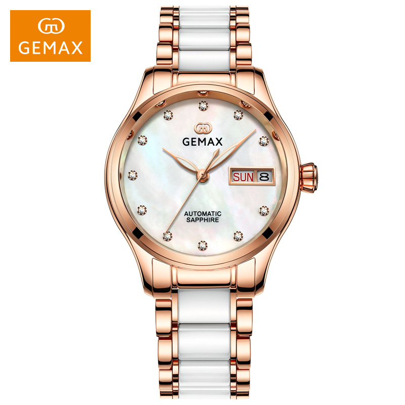 GEMAX Women Watches Waterproof Automatic Mechanical Watch Ladies Fashion Top Brand Diamond Calendar Ceramic Sapphire MIYOTA 2017
