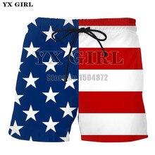 YX Menina Dropshipping 2018 Verão Mens Calções de Praia Shorts Da Bandeira  Americana Dos Homens 3d Impressão Roupas de Fitness M.. f30b6ea9305f1