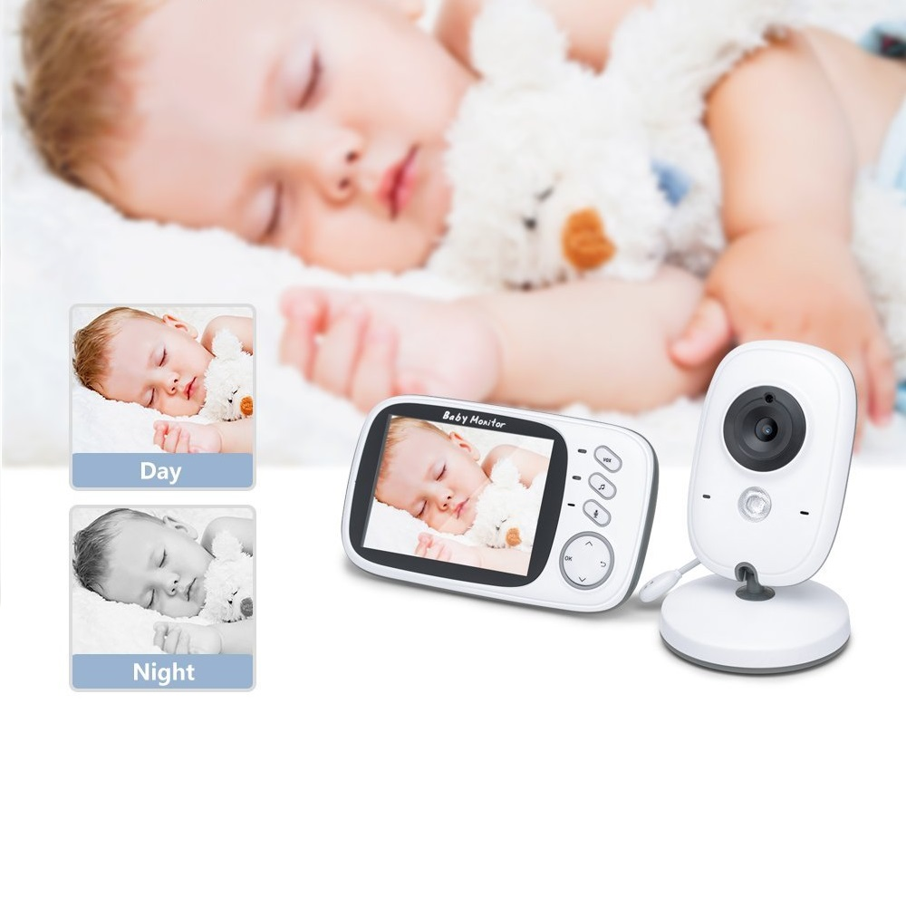 babykam bebek kamerasi video nanny baby alarm 3.2 inch IR Night Vision Intercom Temperature Sensor Lullabies baby cam baby radio